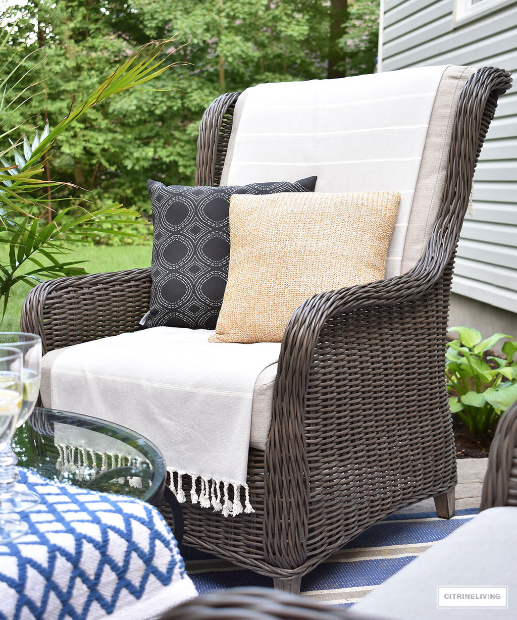 ... Outdoor Fireplace Beautiful, Resin Wicker Wingback Chairs Are The  Perfect Spot To Relax And Enjoy Coffee Or