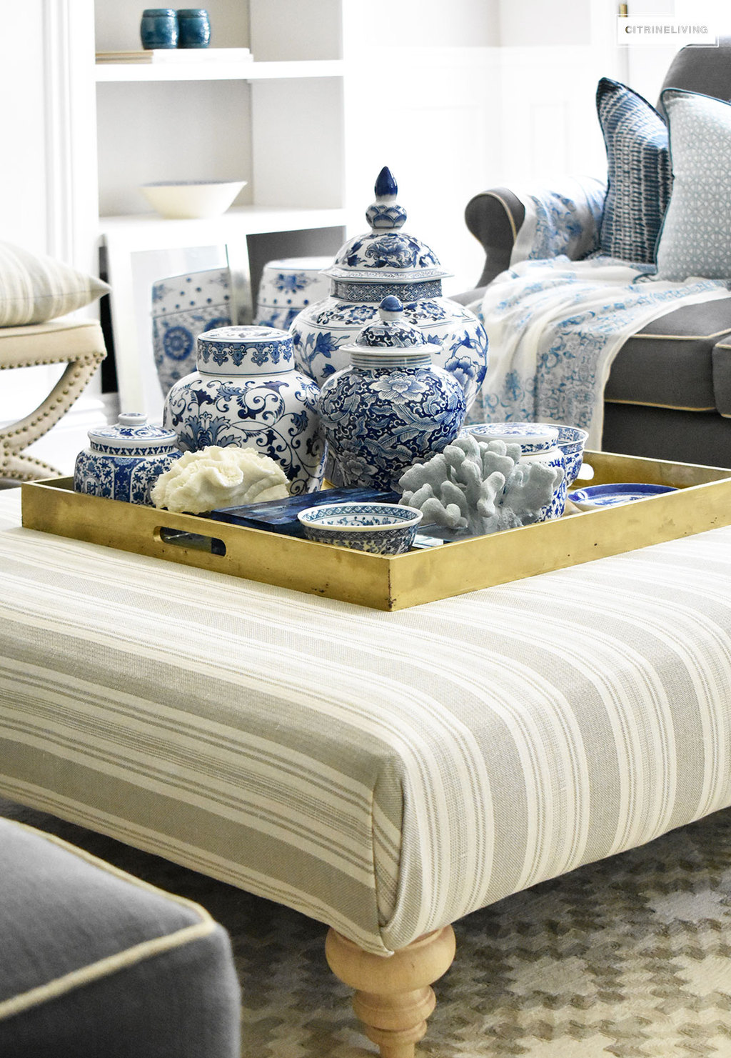 Style Your Coffee Table With A Clustered Grouping Of Blue And White Ginger  Jars And Accessories