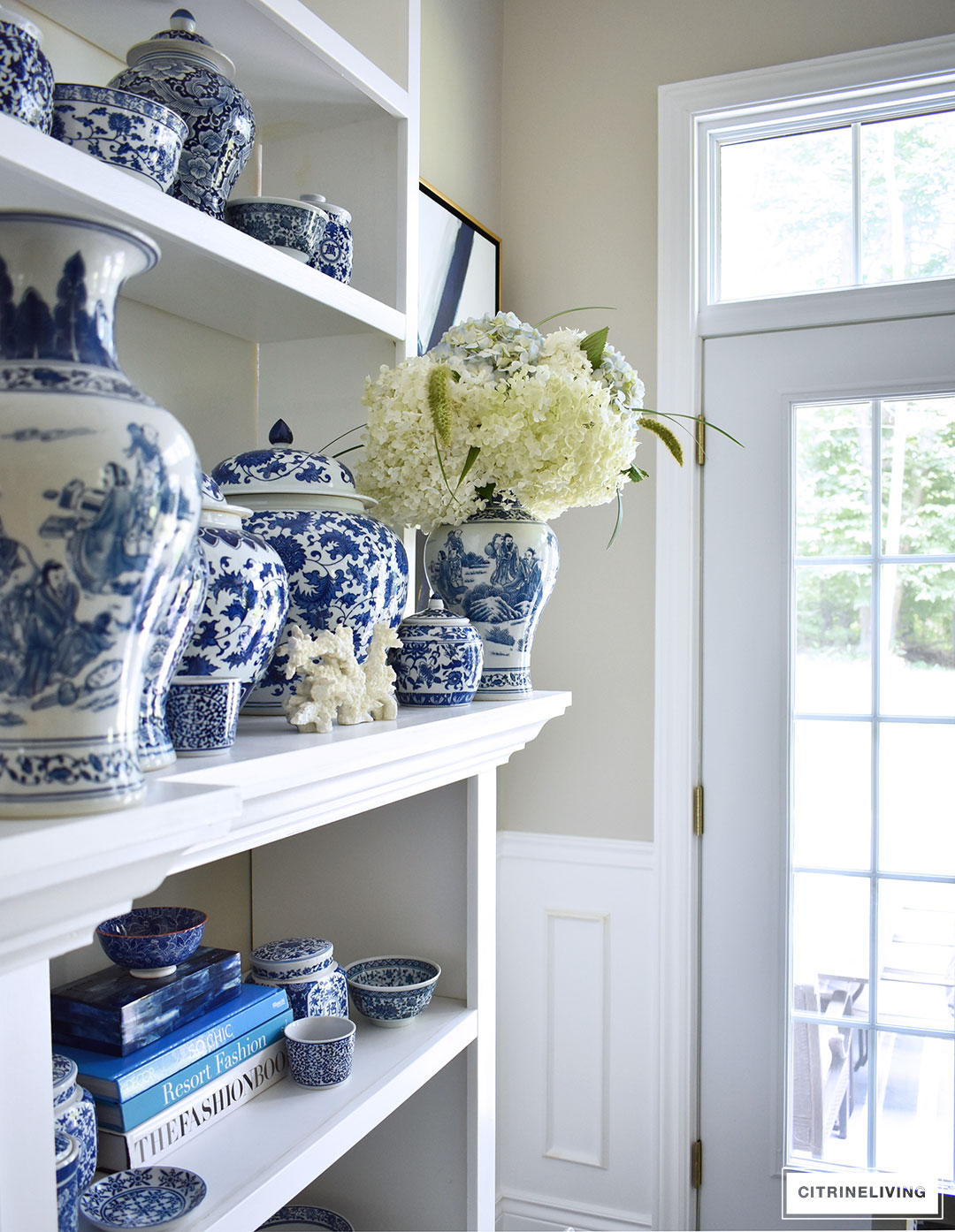 A beautiful collection of blue and white ginger jars, vases, bowls and dishes can be showcased and used anywhere throughout your home. Pair it with any color scheme and use it through any season of the year - this timeless classic will never go out of style!