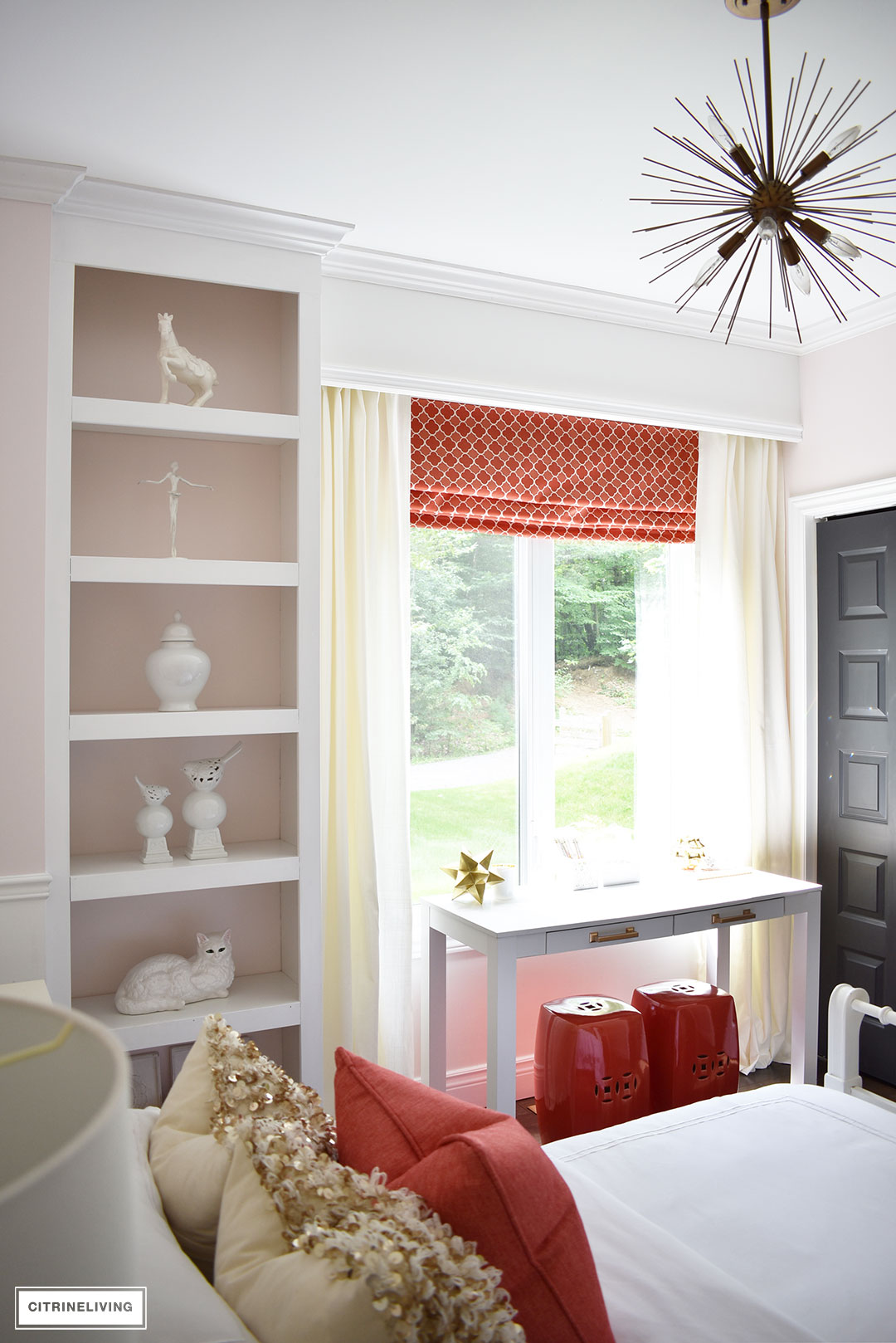 BLUSH PINK AND CORAL BEDROOM WITH BRASS ACCENTS