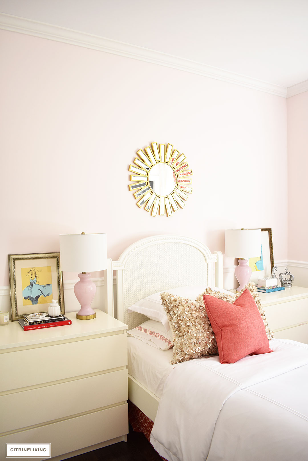 . BLUSH PINK AND CORAL BEDROOM WITH BRASS ACCENTS