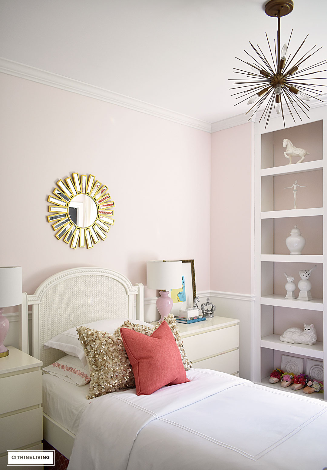 BLUSH PINK AND CORAL BEDROOM WITH BRASS
