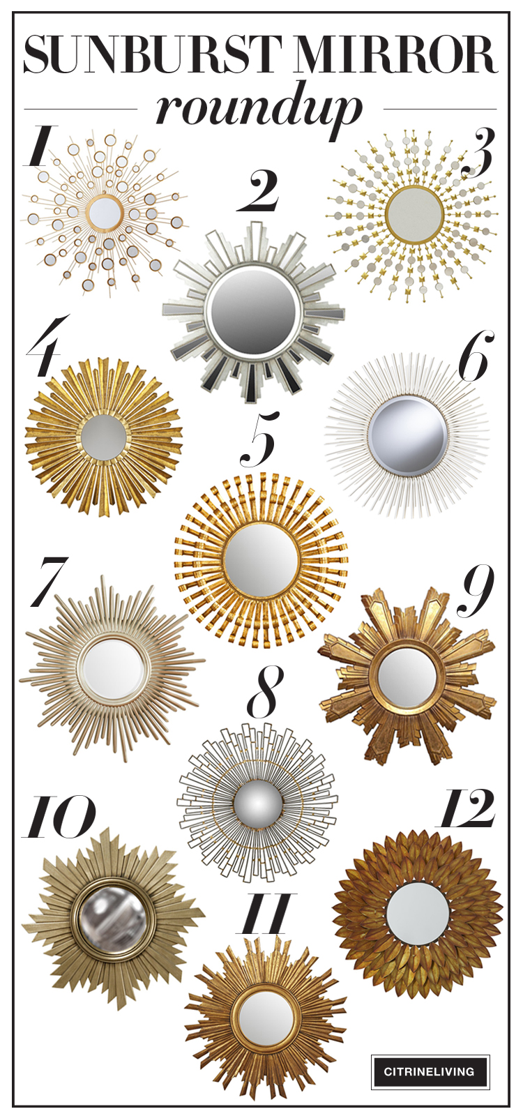 A roundup of chic and elegant sunburst mirrors that will suit any decor!