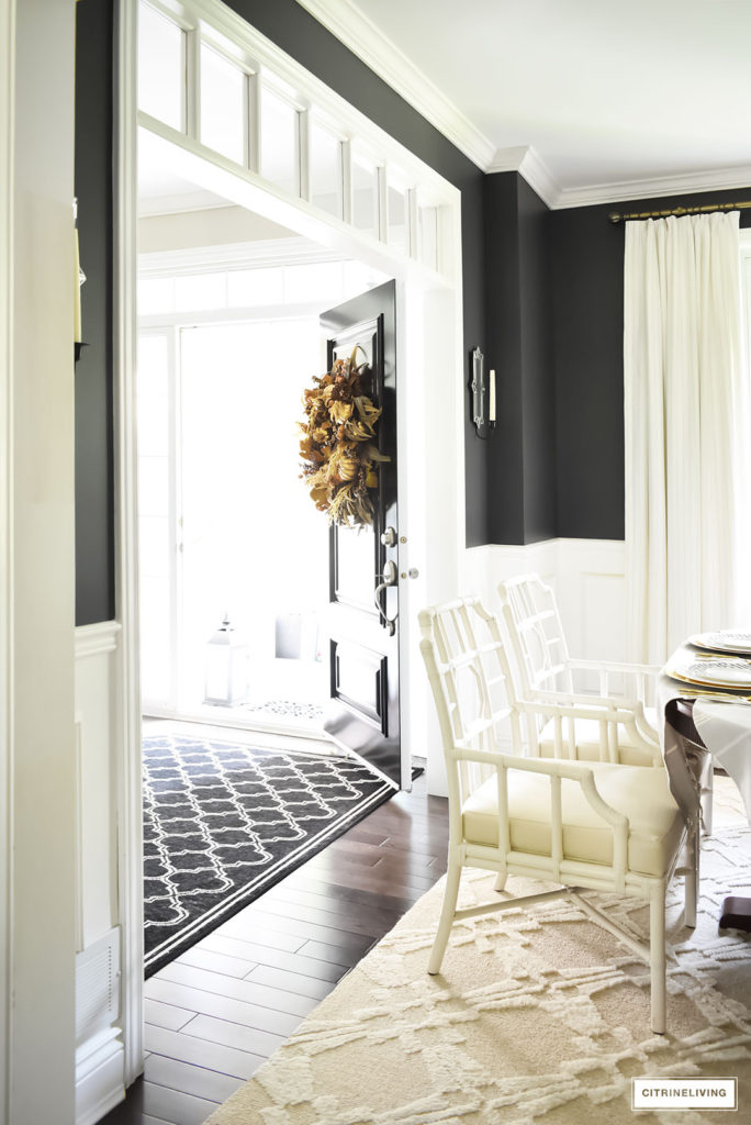 Black and white dining room with lattice-back chairs. Fall Home Tour.