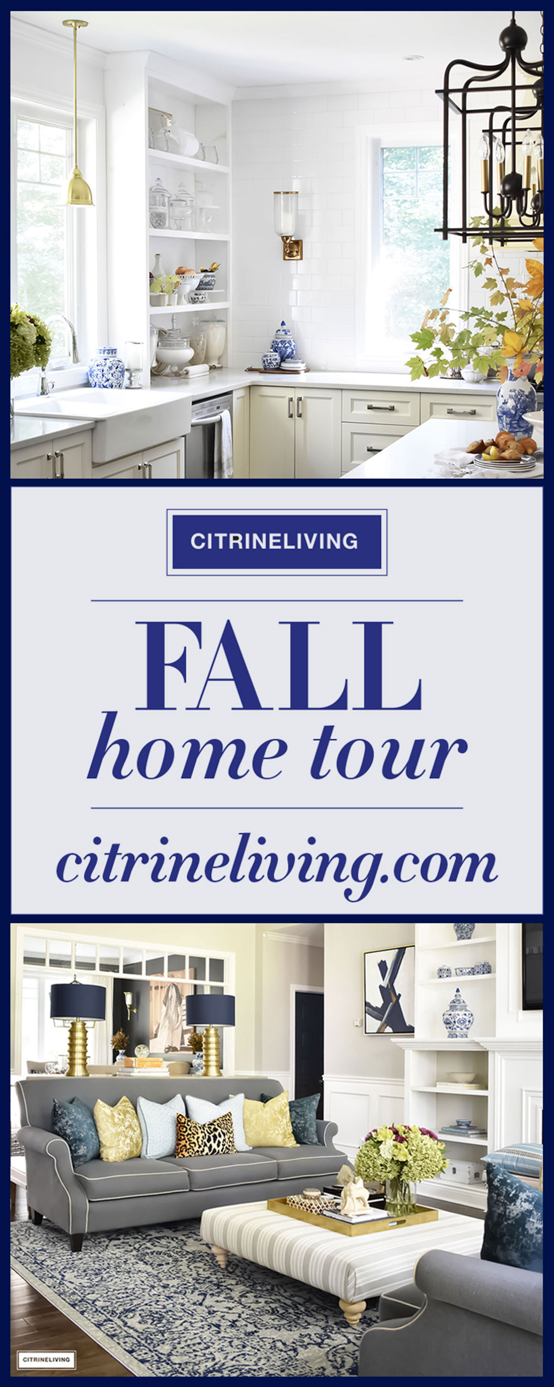 Fall Home Tour featuring layers of rich, colors and textures - navy and gold accents, fall leaves, blue and white accessories and leopard print.