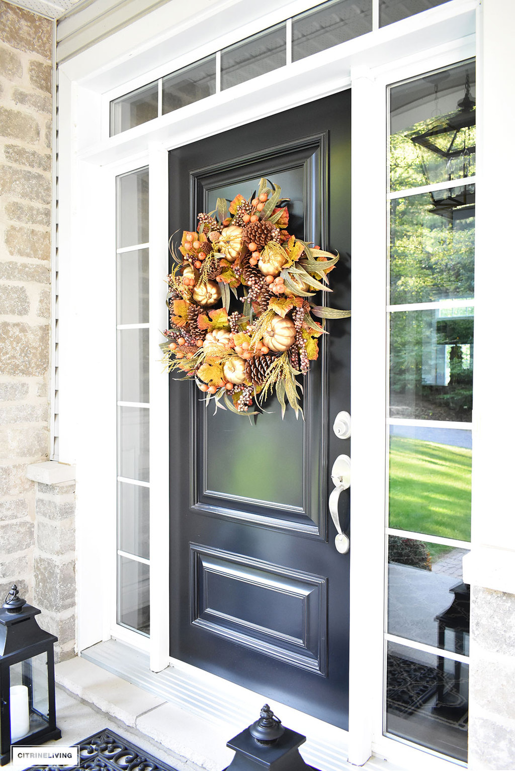 An elegant front porch decorated for fall for Elegant front doors