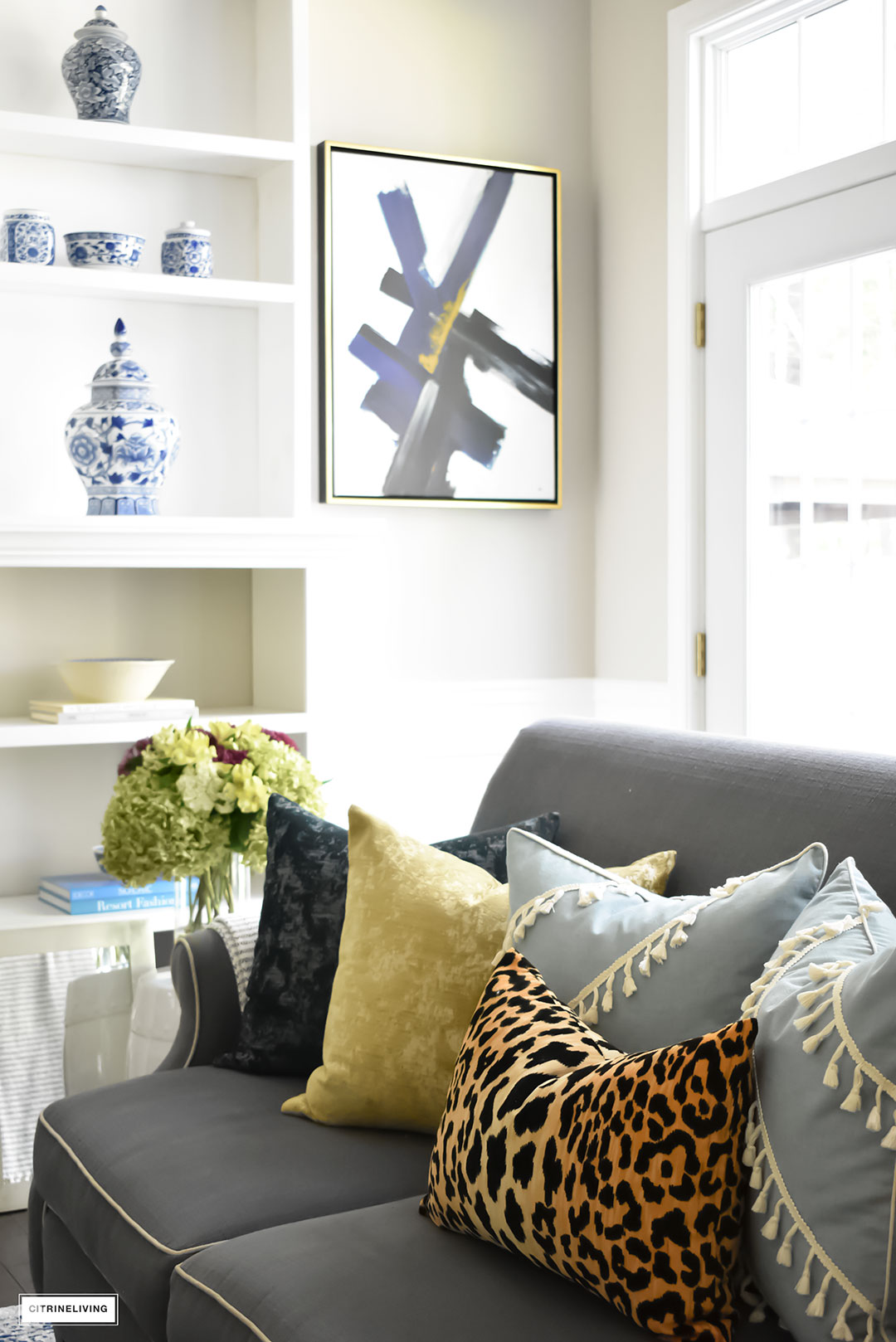 Fall Home Tour with navy and gold velvet pillows and accents. Blue and white ginger jars and leopard pillow.