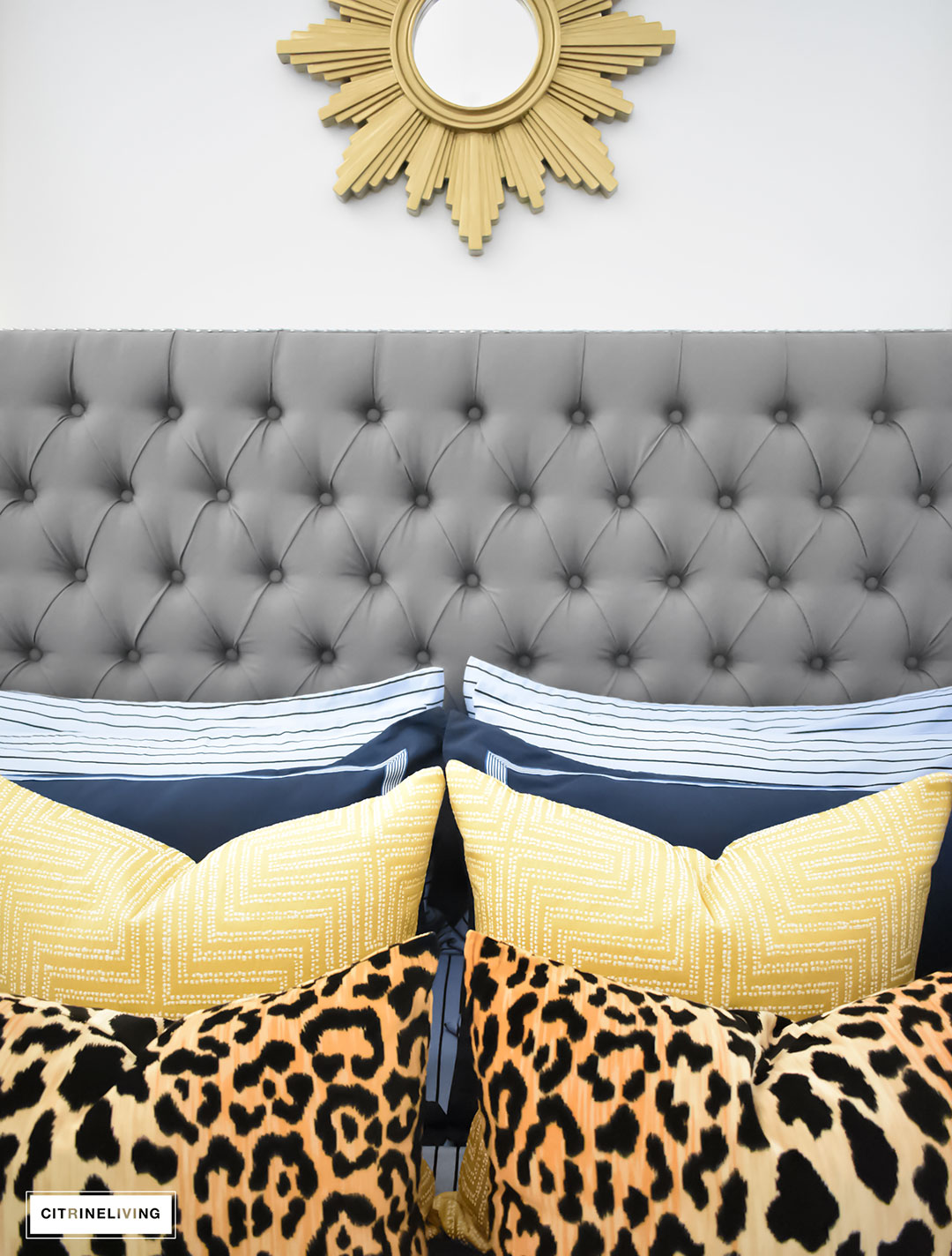 Our Fall bedroom - Navy blue bedding with greek detail, layered with luxeOur Fall bedroom - A masculine meets glam look with navy blue, stripes, paisley ikat, greek key, leopard and gold - perfectly tailored and chic!