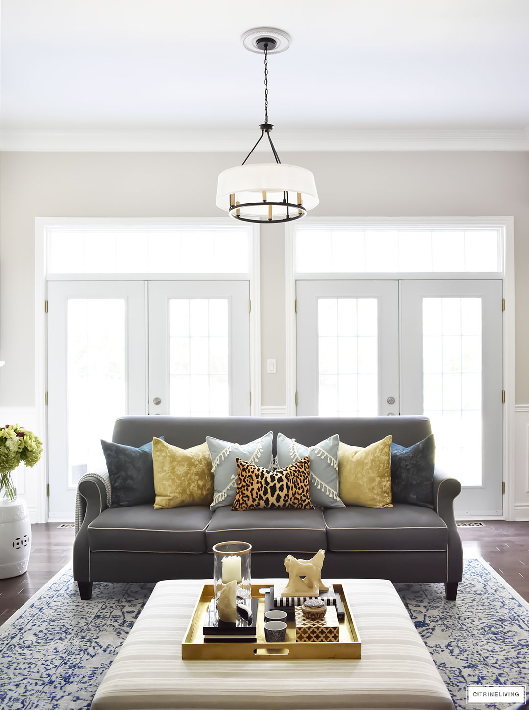 Fall Home Tour with navy and gold velvet pillows and accents. Leopard pillow. Drum shade chandelier.