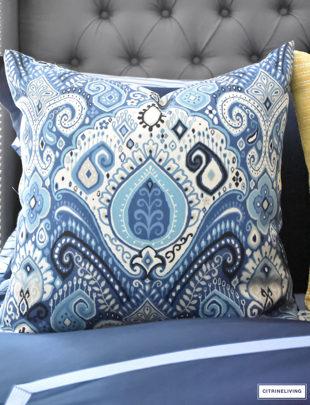 Gorgeous Blue Fall master bedroom - A masculine meets glam look with navy blue, stripes, paisley ikat, greek key, leopard and gold - perfectly tailored and chic!