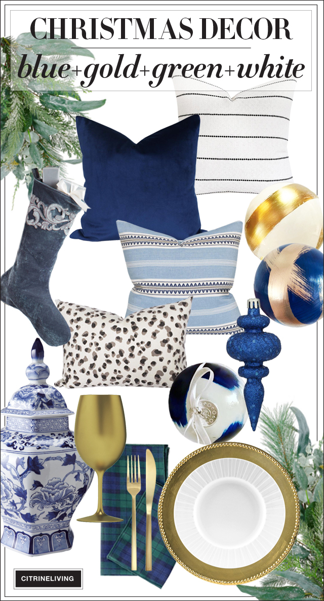Beautiful Christmas decor theme with classic blue and white, holiday greenery, navy and gold, Scottish tartan, all combined for a traditional look with a modern edge!