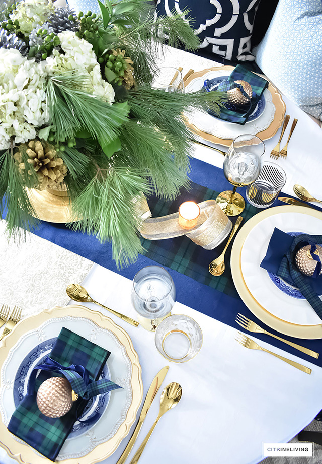 Classic Christmas Tablescape With Tartan Navy Green And Gold