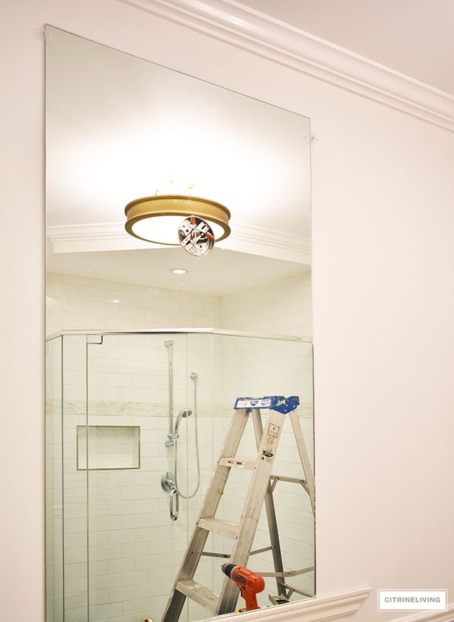 One Room Challenge master bathroom makeover - the mirrors are installed!