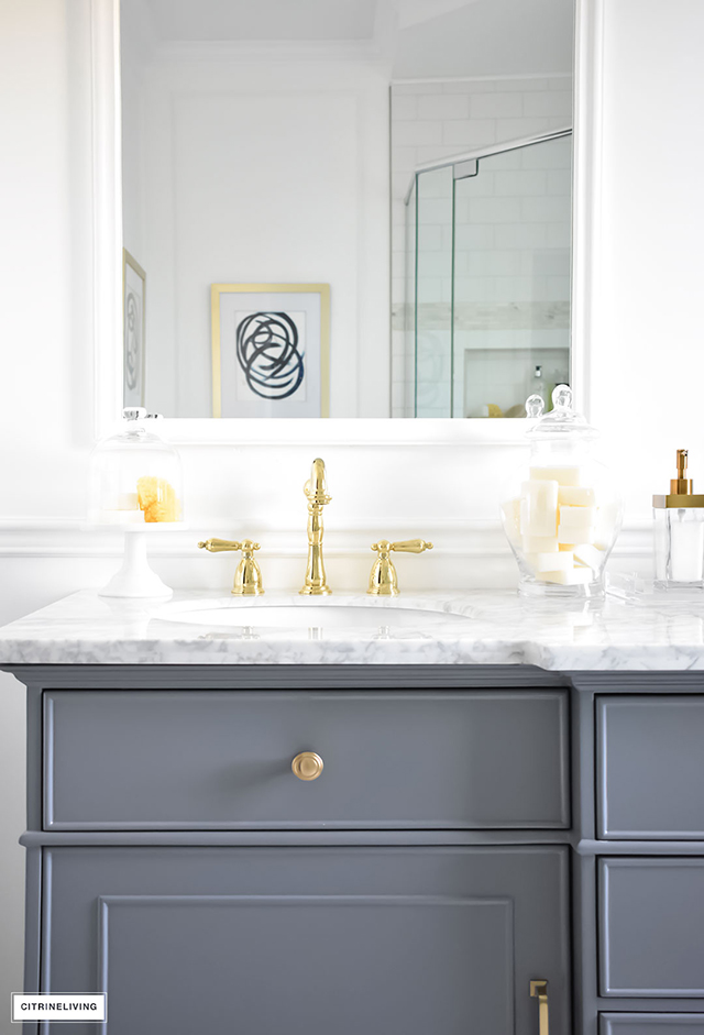 White Gorgeous Traditional Meets Modern Master Bathroom Reveal With An Elegant Color Palette Of Grey
