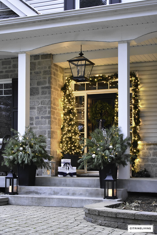 set a magical scene and welcome your guests on your christmas front porch this year with - Christmas Front Porch