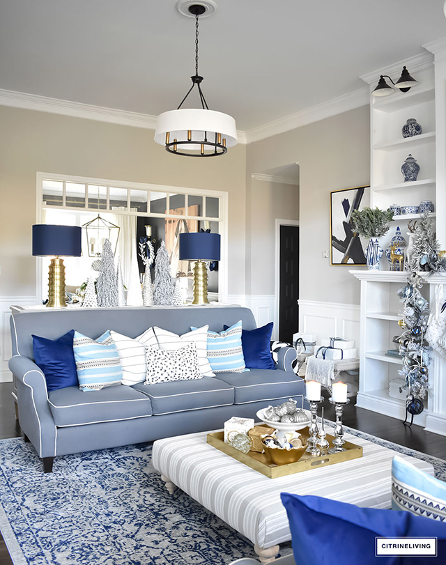 christmas home tour living room with blue white and gold. Black Bedroom Furniture Sets. Home Design Ideas