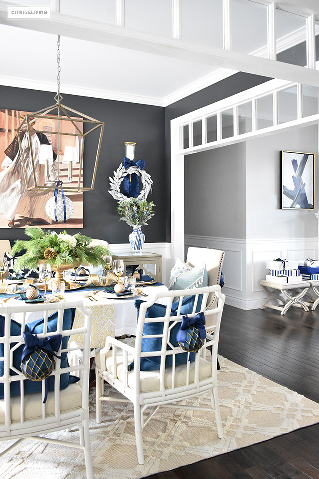 Beautiful Christmas Home Tour Featuring The Dining Room And Entryway  Dressed In Blue, White,