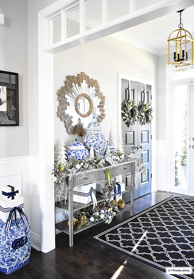 Genial Beautiful Christmas Home Tour Featuring The Dining Room And Entryway  Dressed In Blue, White,