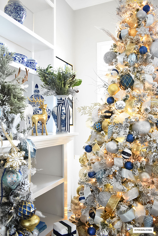 Christmas home tour living room with blue white and gold for Blue gold and white christmas tree
