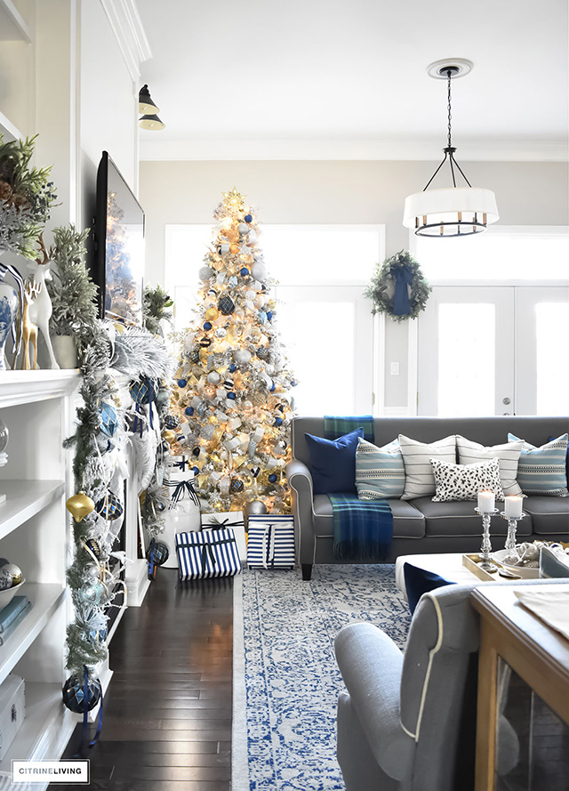 Christmas home tour living room with blue white and gold - Christmas living room decor ...