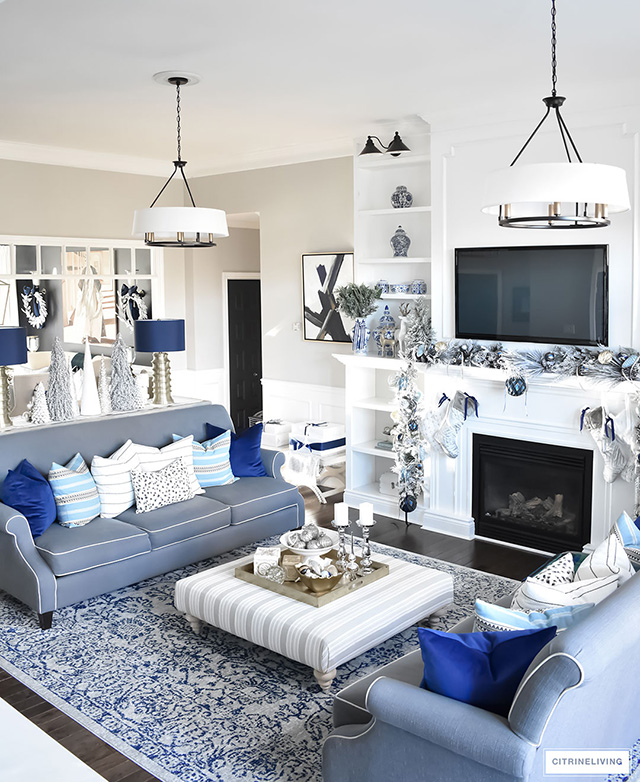 White and blue living rooms Black white blue living room