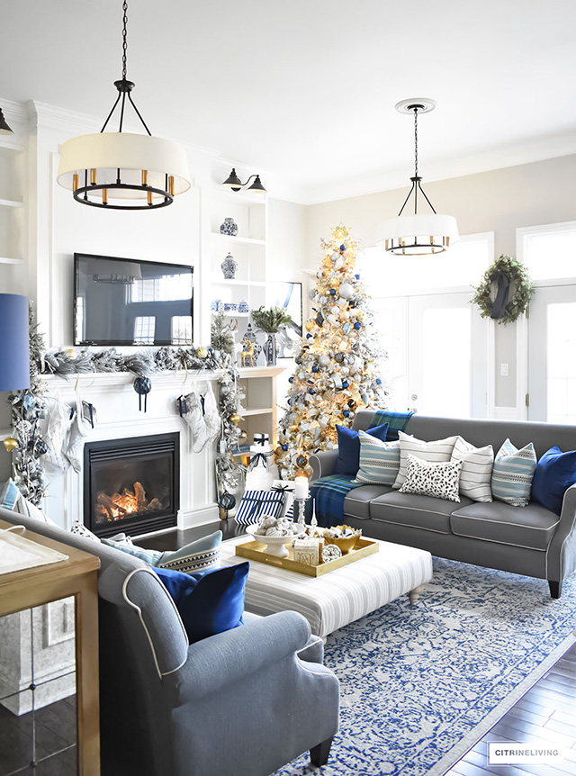 ... Christmas Home Tour   Gorgeous Living Room Dressed In Blues, Gold,  Silver And Flocked