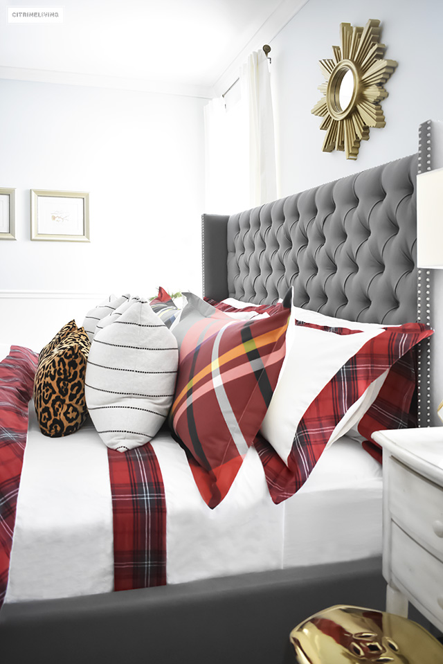 christmas bedroom with red white tartan bedding christmas plaid sheets