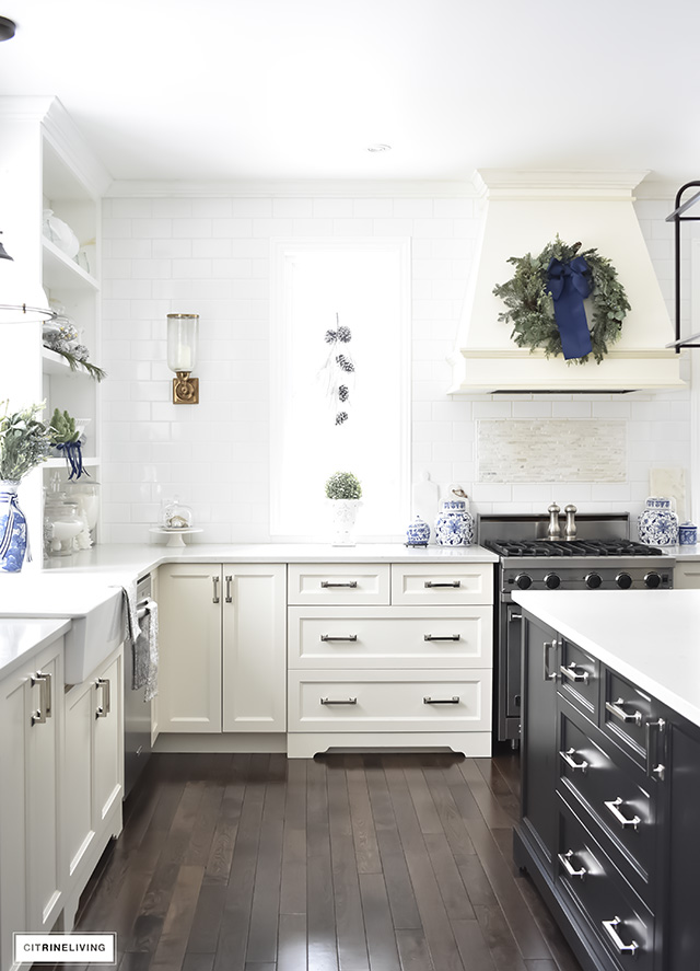Christmas Kitchen With Blue Amp White Holiday Greenery