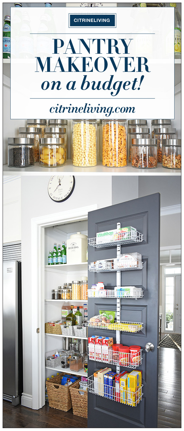 An organized kitchen pantry that went from chaotic, cluttered, messy and overwhelming to streamlined, paired-down and perfectly organized - all under $300!