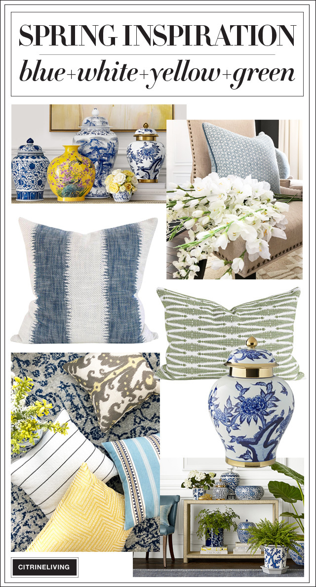 Find some Spring inspiration with a beautiful color palette of blue and white, paired with yellow and green for a bright and happy theme this season.