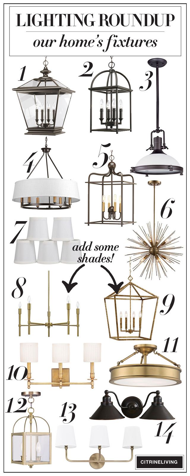 A roundup of beautiful, statement-making lighting that won't break the bank - from front porch pendants to bathroom sconces - all in one, easy to shop resource!
