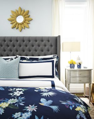 Classic, italian made, white + navy hotel chic bedding is so gorgeous paired with our organic navy chinoiserie printed duvet and shams from Williams Sonoma Home, for a rich and elegant look in our bedroom.