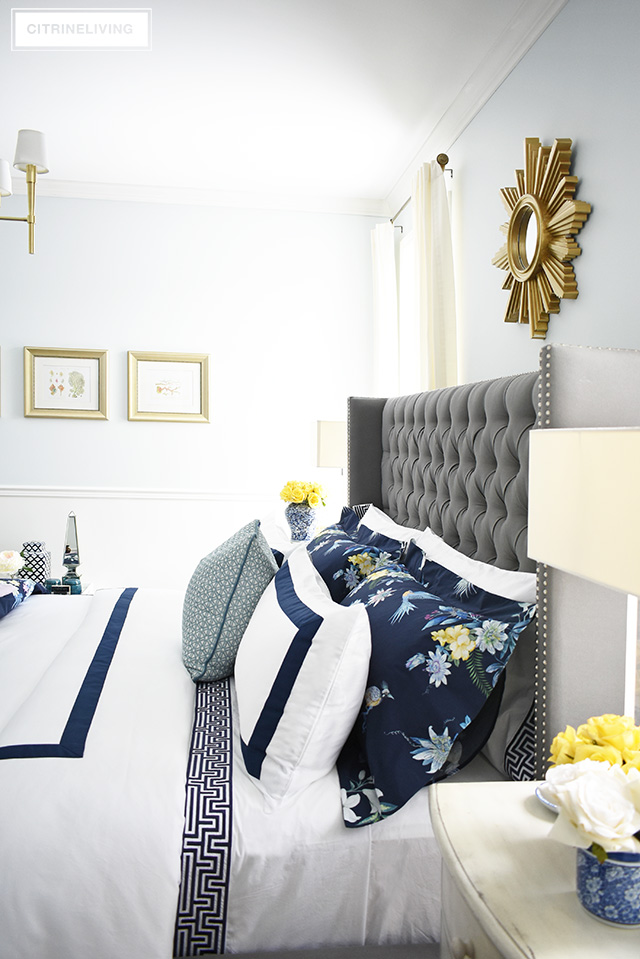 classic white and navy chinoiserie inspired bedding. Black Bedroom Furniture Sets. Home Design Ideas