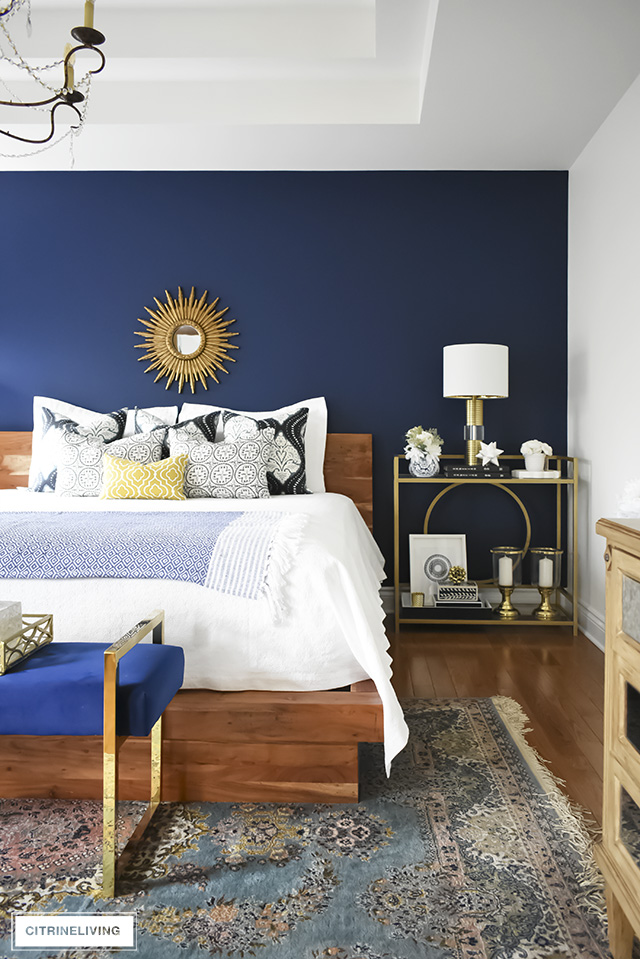 Stunning Boho Glam Bedroom Makeover With A Blue Vintage Rug Brass Accents Layered