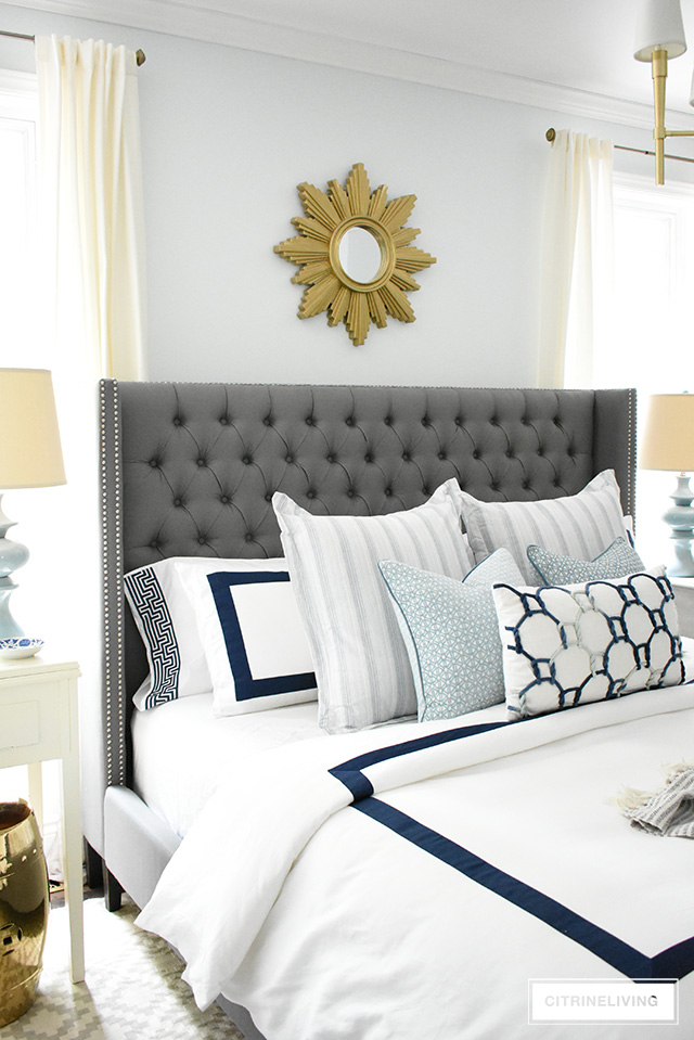 Adding summer touches to your bedroom is as simple as throw pillows, a casual throw, and some pretty coastal accents. Bring in the season with these these no-fail tips for a relaxing and airy summer bedroom!
