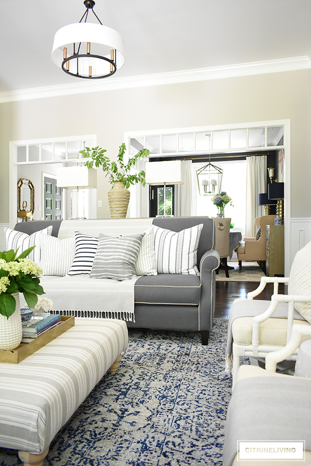 Casual Elegant Living Room: SUMMER LIVING ROOM WITH CALMING NEUTRAL PALETTE