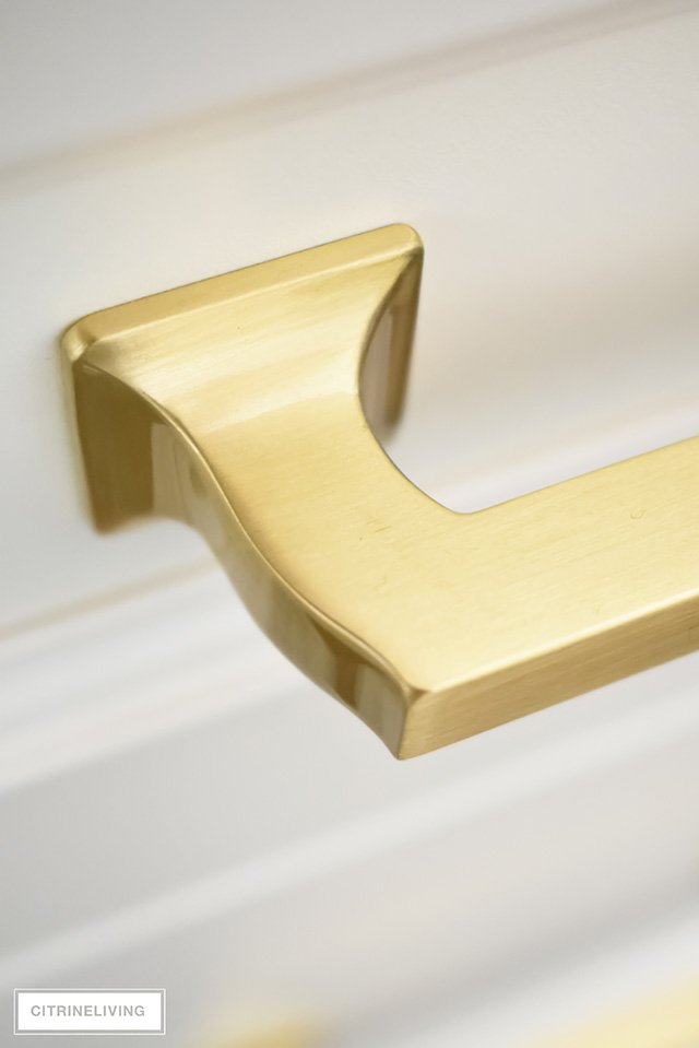 Detail of brass hardware drawer pull.