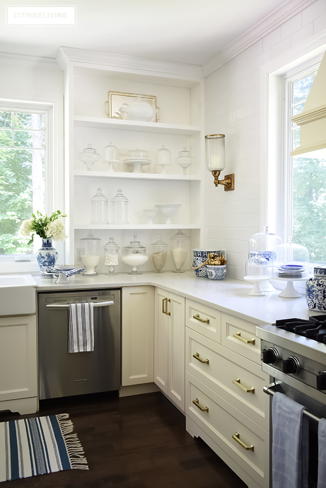 Styling ideas for open kitchen shelving, apothecary jars, cake stands.