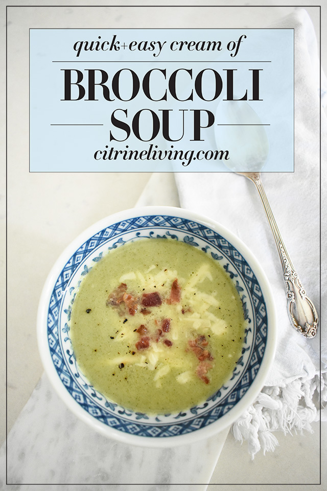 This twenty minute cream of broccoli soup is so simple and absolutlely delicious! Perfect for lunch, or a quick dinner everyone in your family will love!