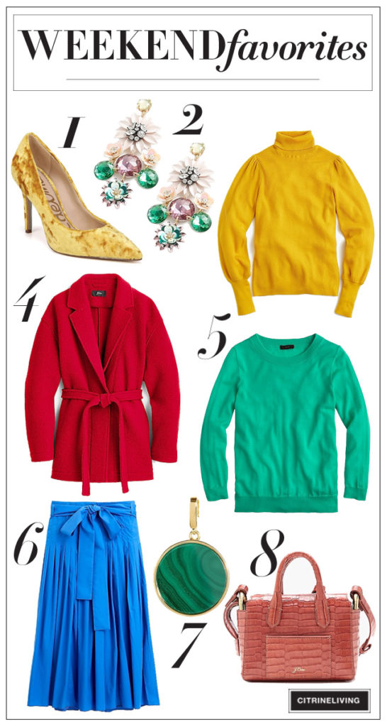 Weekend Favorites - Fall fashion picks - bright colors for fall. By CitrineLiving