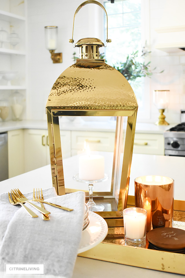 Fall kitchen decorating that is simple yet beautiful - warm metals, simple greenery and a just a few accessories for gorgeous pared-back style.