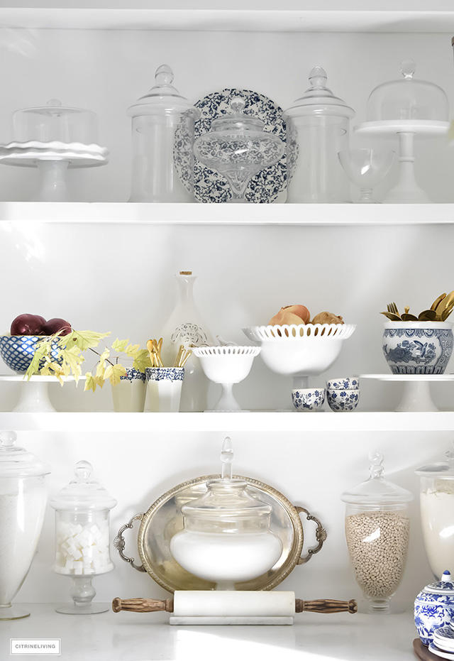 Kitchen shelving styling ideas.