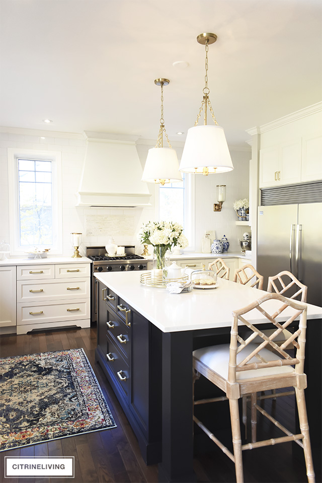 Kitchen Pendant Lighting With Shades And Chippendale Barstools Add Chic Sophistication To This E