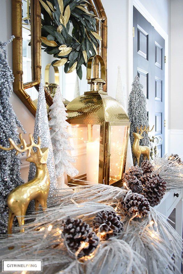 Give your entryway Christmas decorating a luxe look this season using layers of beautiful metallics, for a rich and elegant welcome.