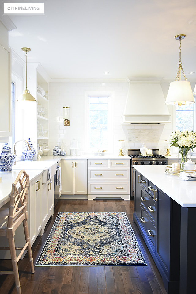 W Kitchen Lighting And Barstools A Vintage Style Rug Add Character Tailored Elegance To