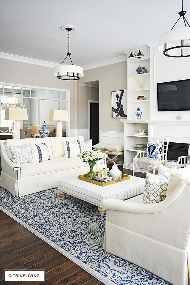 LIVING ROOM REVEAL WITH NEW WHITE SOFAS