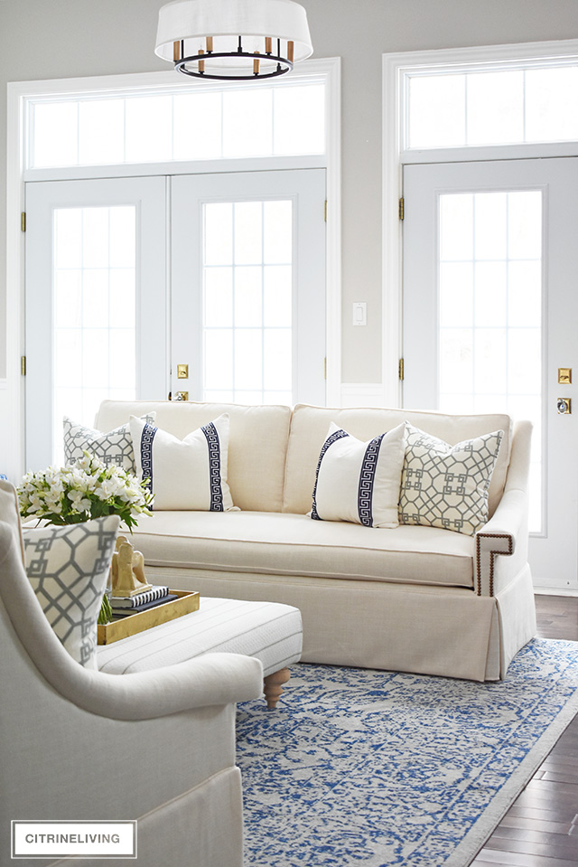 Stunning white sofas create a brand new look in our living room! Elegant, chic and sophisticated but still casual and welcoming!