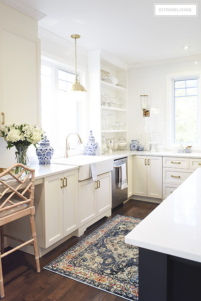 A Kitchen With Vintage Character: NEW KITCHEN LIGHTING, BARSTOOLS + VINTAGE STYLE RUG