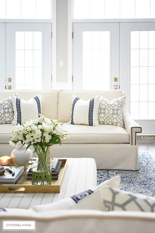 Stunning new white sofas and tailored, elegant and chic ad completely transform this living room!