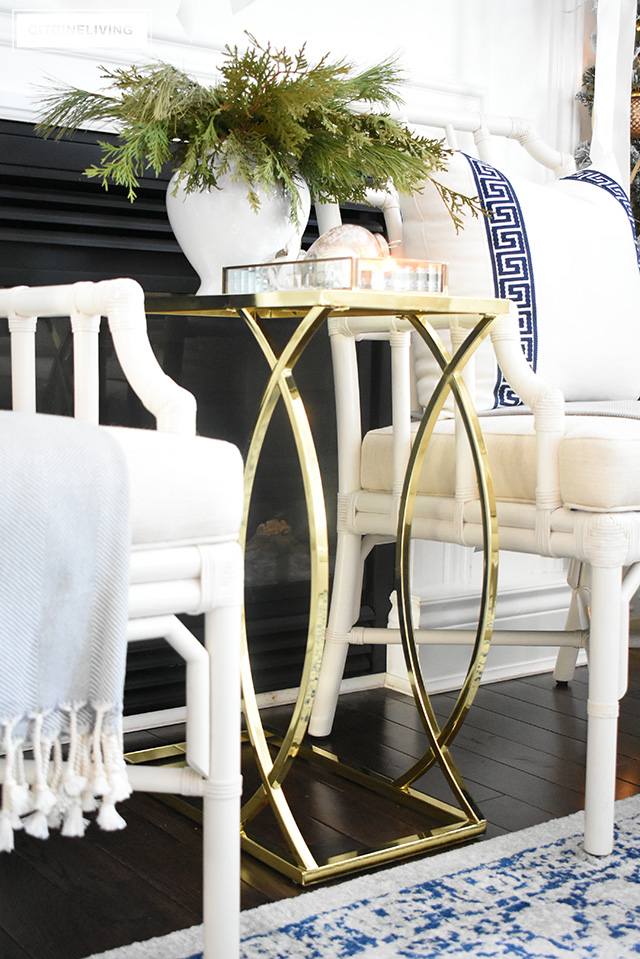 Create glamour and sophistiation in your Christmas living room this holiday with affordable and gorgeous decor fro Walmart like this fabulous brass accent table!
